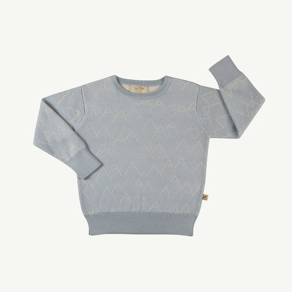 'little mountains' sky gray mountains knitted sweater