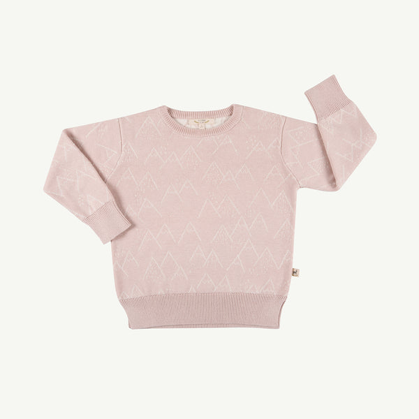 'little mountains' peach whip mountains knitted sweater