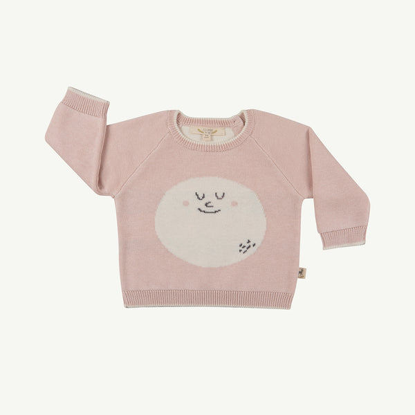 'happy moon' peach whip faces knitted sweater