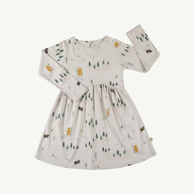 'up the mountain' white sand tundra dress