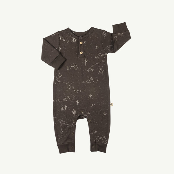 'yeti tracks' turkish coffee buttons jumpsuit