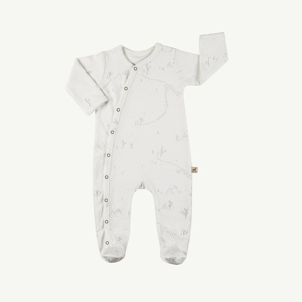 'yeti tracks' organic footed jumpsuit