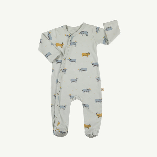 'golden blue goat' sky gray footed jumpsuit