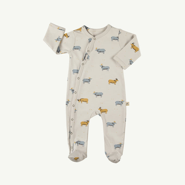 'golden blue goat' white sand footed jumpsuit