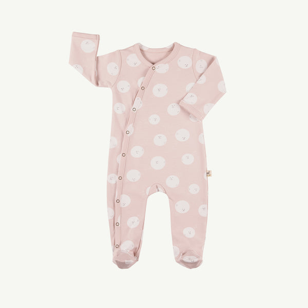 'moon faces' peach whip footed jumpsuit
