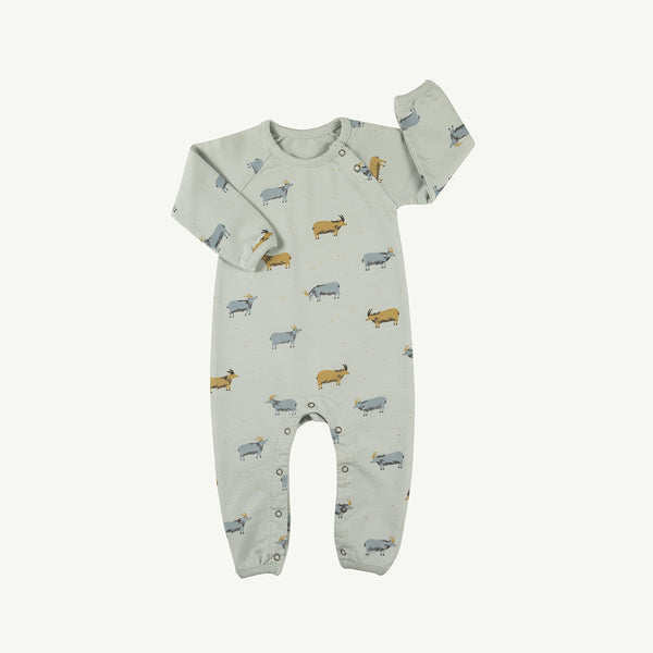 'golden blue goat' sky gray french terry jumpsuit