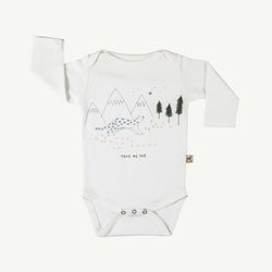 'take me far' organic onesie