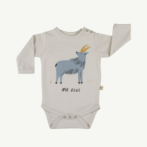 'mr. blue' white sand onesie