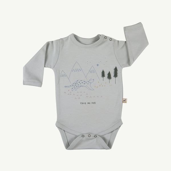 'take me far' sky gray onesie