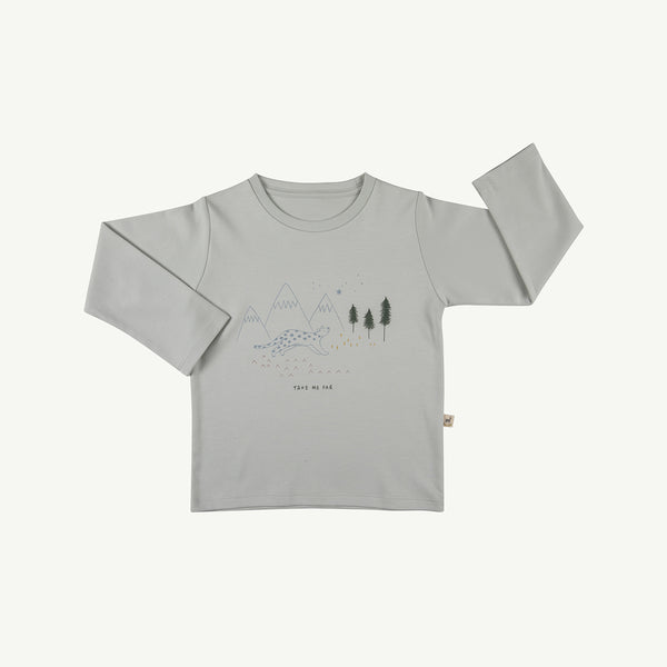 'take me far' sky gray t-shirt
