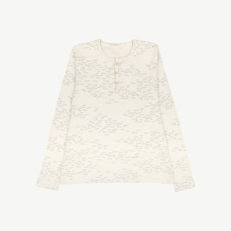 'schooling fish' ivory women's ribbed henley