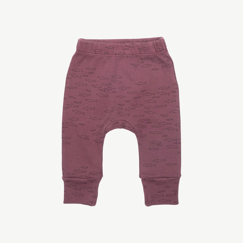 'schooling fish' plum wine ribbed legging