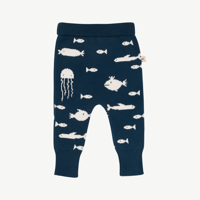 'stranger fish' poseidon blue knit pants