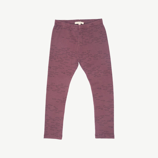 'schooling fish' plum wine legging