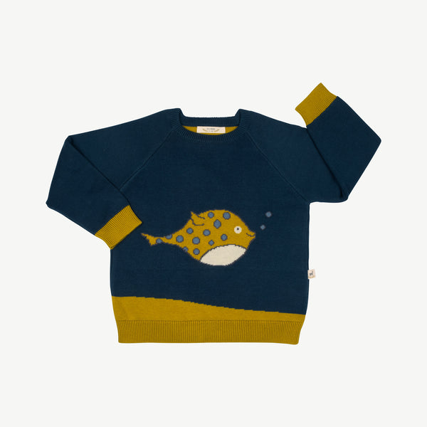 'steve (blowfish)' poseidon blue knit pullover