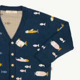 'stranger fish' poseidon blue knit cardigan