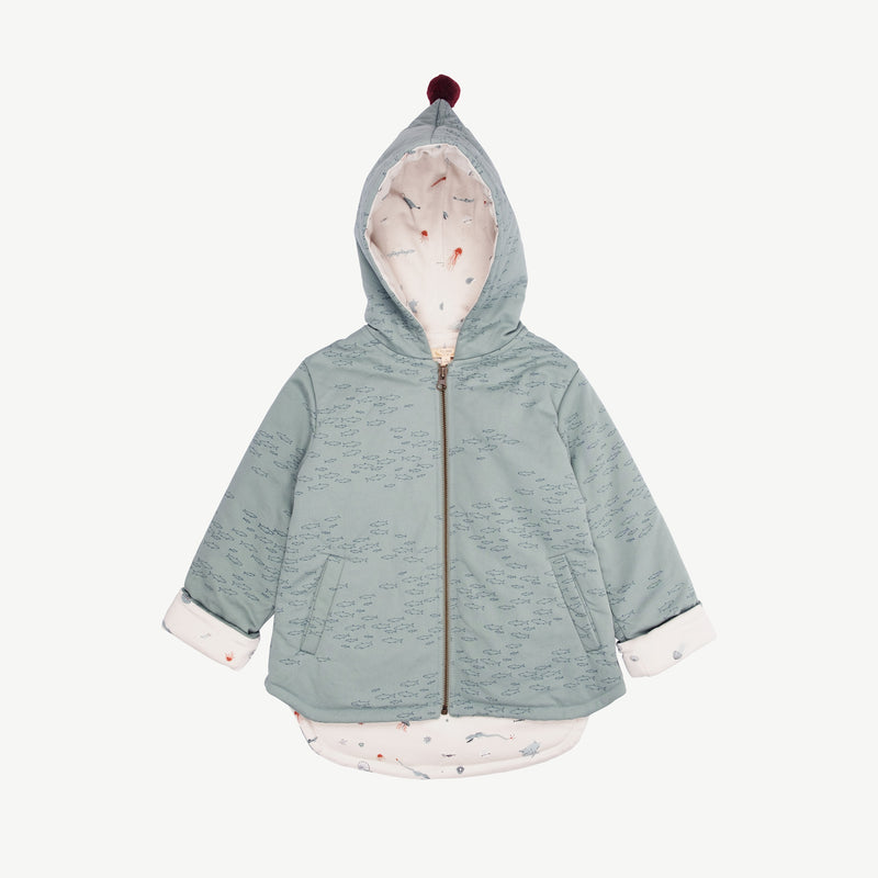 'schooling fish' chinoise green padded jacket