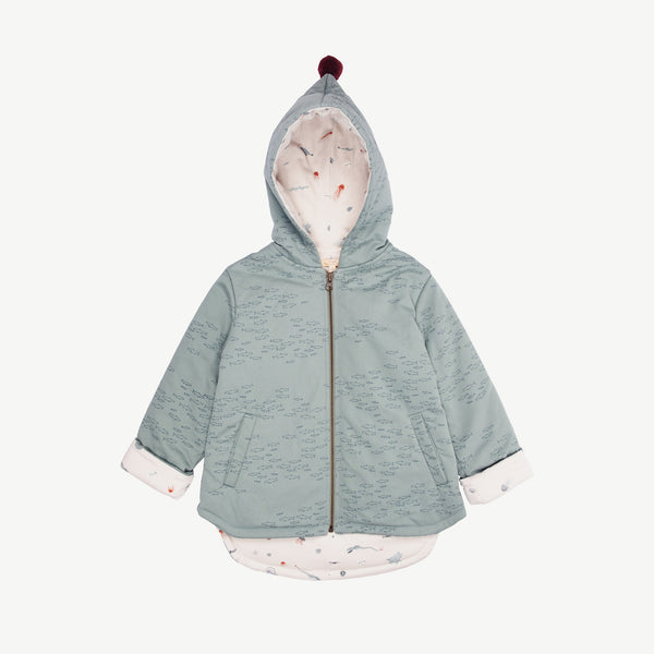 'schooling fish' chinoise green insulated jacket