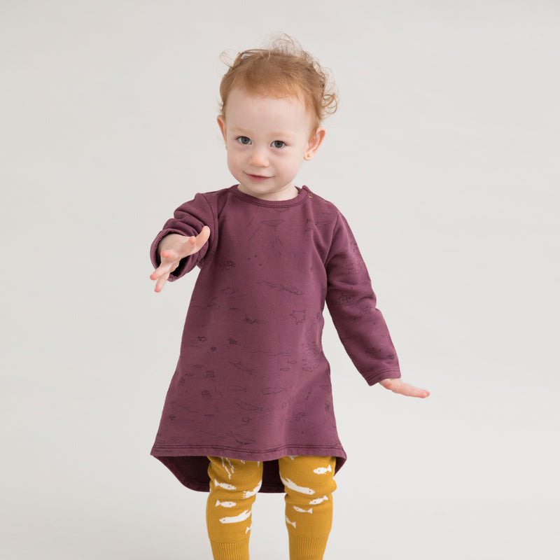 'the story' plum wine french terry dress