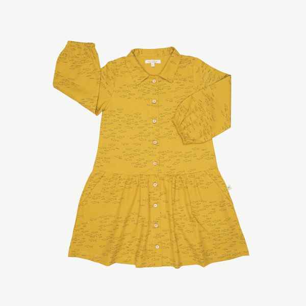 'schooling fish' mustard buttons dress