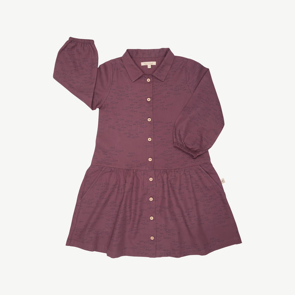 'schooling fish' plum wine buttons dress