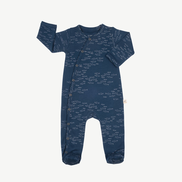 'schooling fish' poseidon blue footed jumpsuit