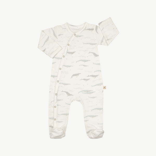 'passing whales' eco white footed jumpsuit