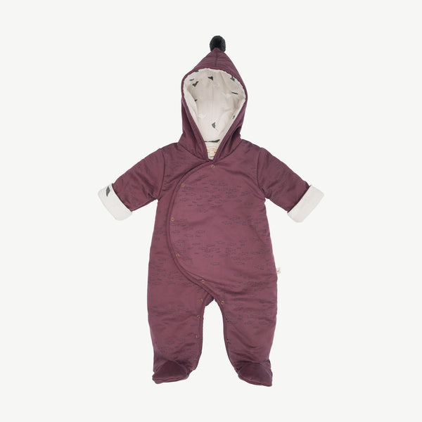 'schooling fish' plum wine padded jumpsuit