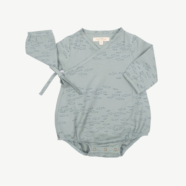 'schooling fish' chinoise green woven onesie