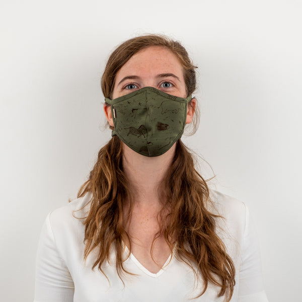 'the story' vineyard green face mask