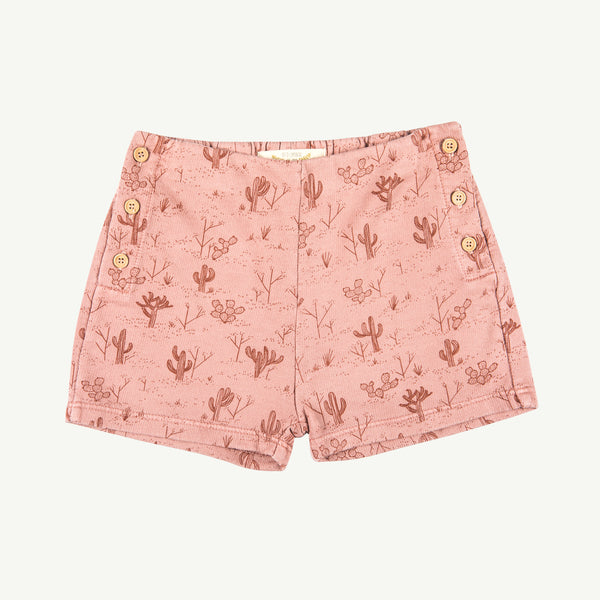 'cacti garden' rose dawn french terry shorts