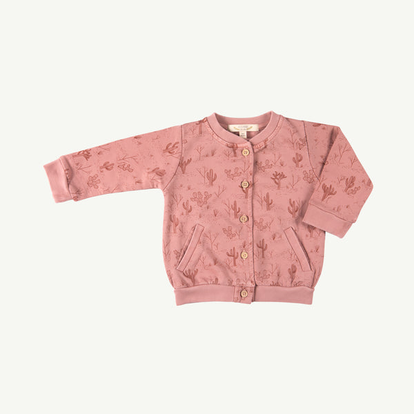 'cacti garden' rose dawn french terry cardigan