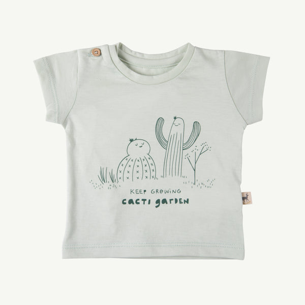 'keep growing' green lilly round neck t-shirt