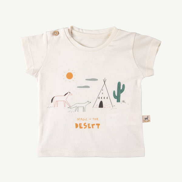 'magic in the desert' ivory round neck t-shirt