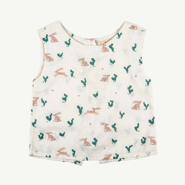 'prickly rabbit' Ivory back buttoned top