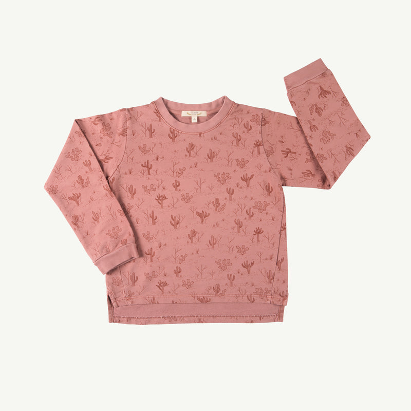'cacti garden' rose dawn french terry sweatshirt