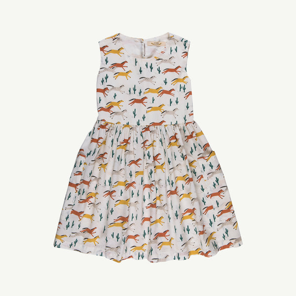 'wild horses' ivory pockets dress