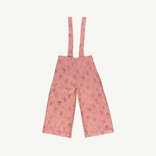 'cacti garden' rose dawn woven wide leg overall