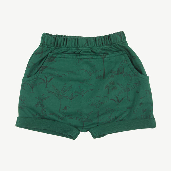 'the story' antique green shorts
