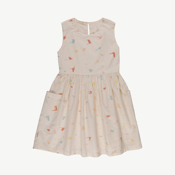 'tropical birds' pink tint pockets dress