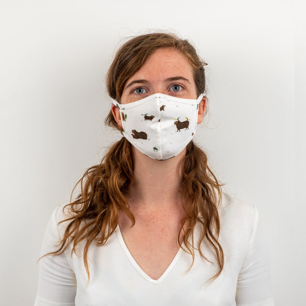 'pally capybara' eco-white face mask