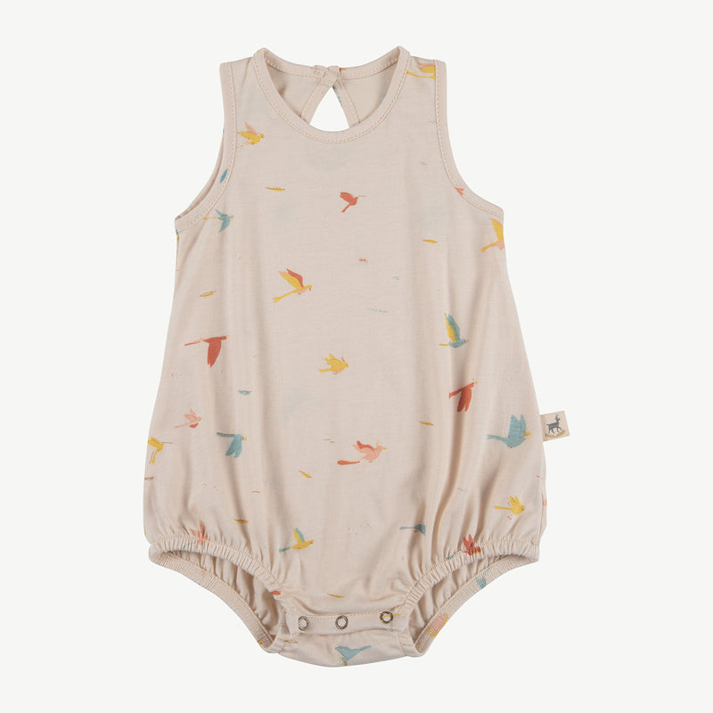 'tropical birds' pink tint baggy onesie