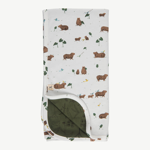 'pally capybara' eco-white double sided blanket