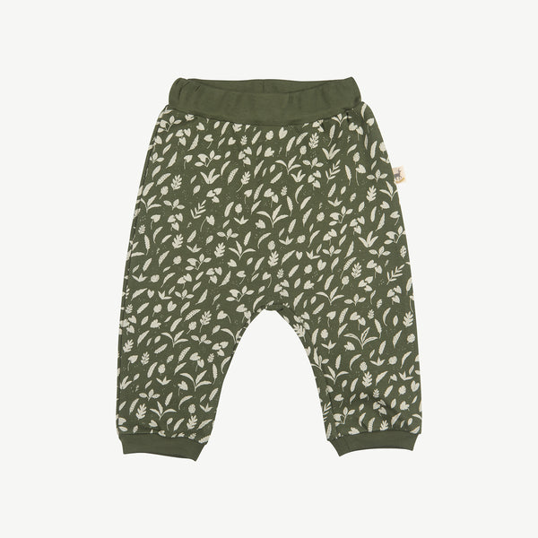 'rainforest foliage' chive baggy pants