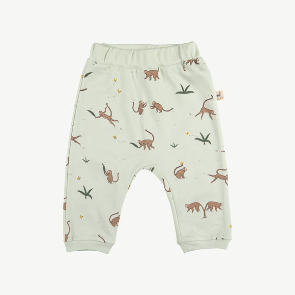 'playful monkeys' almost aqua baggy pants