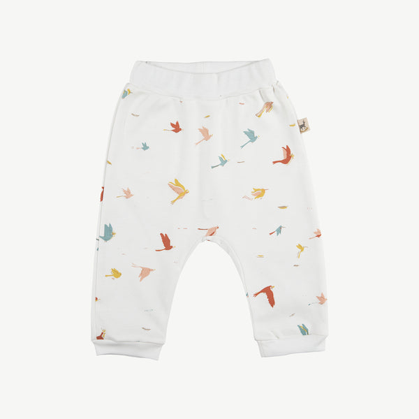 'tropical birds' eco-white baggy pants