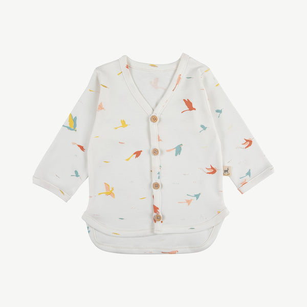 'tropical birds' eco-white cardigan