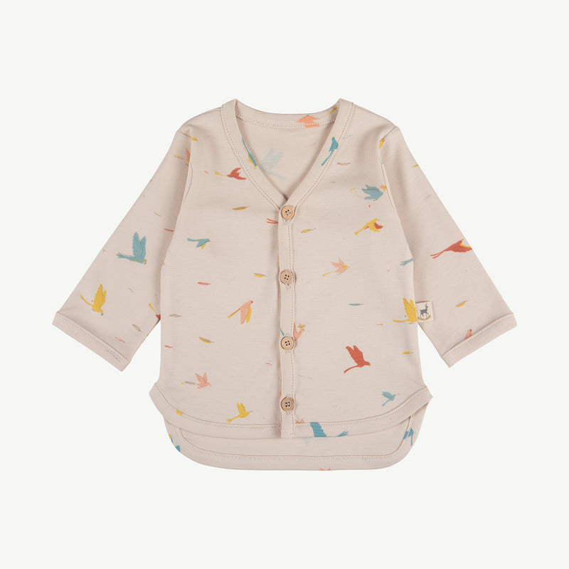 'tropical birds' pink tint cardigan