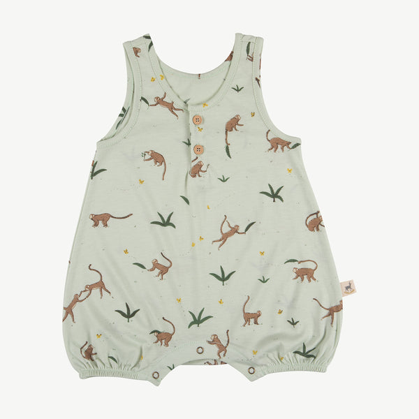 'playful monkeys' almost aqua romper