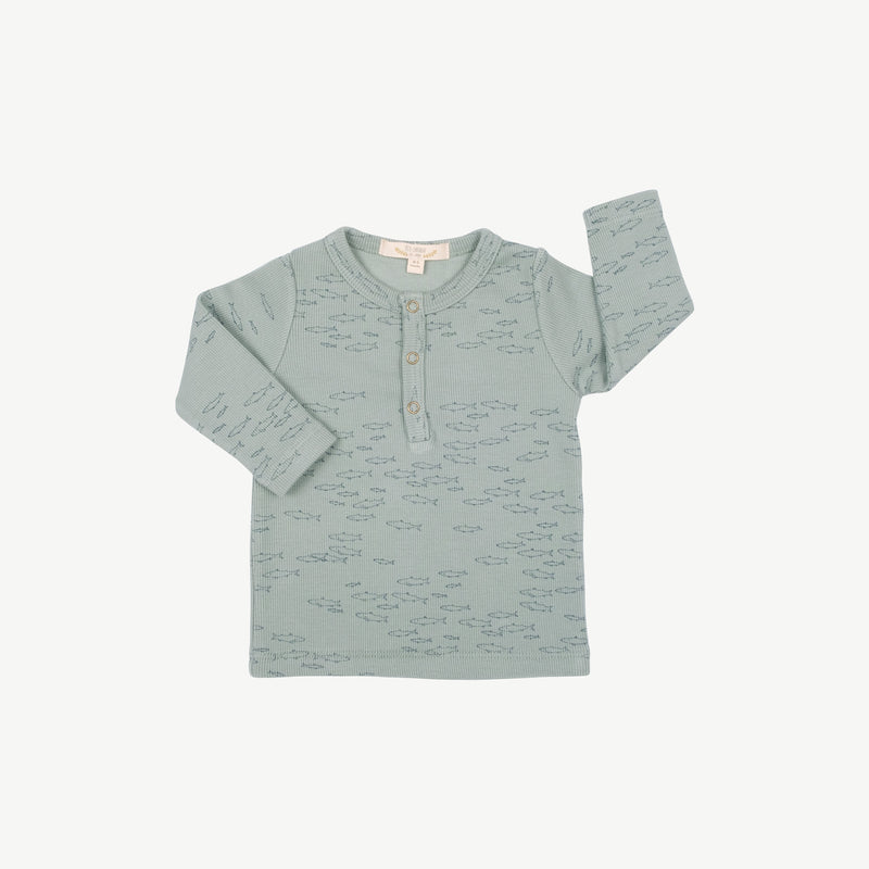 'schooling fish' chinoise green ribbed henley